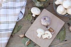 Ail, champignons et épices Image stock