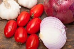 Ail et tomates d'oignon Images libres de droits