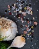 Ail organique frais, sel brut de mer, sel rose de l'Himalaya et grains de poivre d'arc-en-ciel sur l'obscurit? image libre de droits