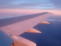 Aile d'un avion de vol dans la lumière de soirée Images stock