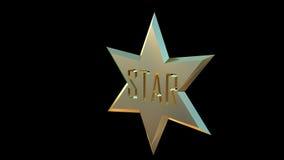 Aile gauche de l'étoile 3D d'or Photographie stock libre de droits