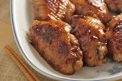 Aile rôtie de poulet Photographie stock