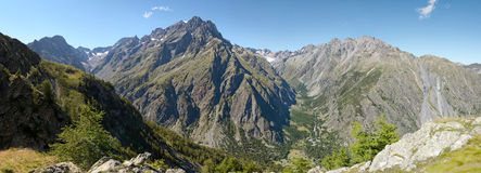 The Ailefroide Valley and the Pelvoux Mountain. Beautiful view on the Pelvoux Montain 3946m, the Ailefroide Valley and the Glacier Blanc Royalty Free Stock Photography