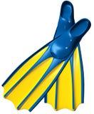Ailerons de bain avec le caoutchouc bleu et le plastique jaune Photos libres de droits