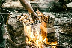 Ailerons in flames. Above fire on a temporary grill made of bricks Royalty Free Stock Photo