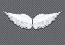 Ailes blanches réalistes d'ange de vecteur sur transparent illustration de vecteur