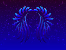 Ailes bleues abstraites et étoiles rougeoyantes illustration de vecteur