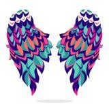 Ailes colorées, signe, symbole, icône, illustration de vecteur Belles ailes illustration libre de droits