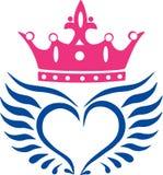 Ailes d'ange avec l'icône de couronne Photo libre de droits