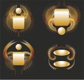 Ailes d'or d'étiquettes réglées Photos stock