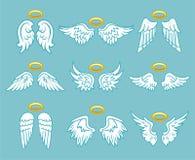 Ailes de plume blanche d'ange avec l'ensemble de nimbus illustration libre de droits