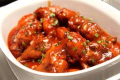 Ailes de poulet de BBQ de sauce Photos libres de droits