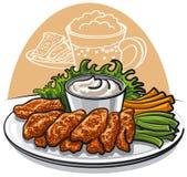 Ailes de poulet frit illustration stock