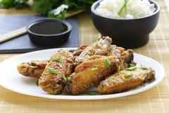 Ailes de poulet frit avec de la sauce épicée Photo libre de droits