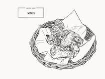 Ailes de poulet tirées par la main de buffle de croquis dans le panier illustration libre de droits