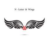 ailes de signe et d'ange de N-lettre Maquette de logo d'aile de monogramme classique illustration libre de droits