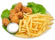 Ailes et fritures de poulet photographie stock libre de droits
