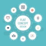Ailes plates d'icônes, instrument, concept et d'autres éléments de vecteur L'ensemble de symboles plats créatifs d'icônes inclut  Images stock