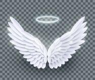Ailes posées réalistes blanches d'ange de coupe de papier du vecteur 3d illustration libre de droits