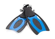 Ailettes bleues de plongée sur un fond blanc Image libre de droits