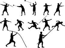 Ailhouettes di atletismo Fotografie Stock Libere da Diritti