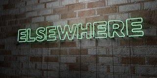 AILLEURS - Enseigne au néon rougeoyant sur le mur de maçonnerie - 3D a rendu l'illustration courante gratuite de redevance illustration de vecteur