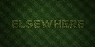AILLEURS - lettres fraîches d'herbe avec des fleurs et des pissenlits - 3D a rendu l'image courante gratuite de redevance illustration libre de droits