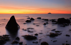 Ailsa Craig Sunset. Sunset on the west coast of Scotland looking over to Ailsa craig island stock images