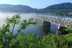 Ailway bridge through the river Yenisei. Siberia Royalty Free Stock Photos