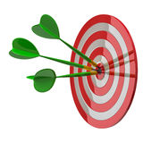 Aim with arrows in center 3d. Darts target aim with three arrows in the center 3d - success concept Stock Image