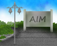Aim board sign on road with street light illustration. During day light Stock Photos