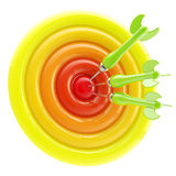 Aim and bull's-eye: darts thrown to exact center Stock Photos