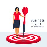 Aim in business concept vector. Aim in business concept. Successful businesswoman hold arrow in hand achievement goal. Female with briefcase isolated background Stock Images