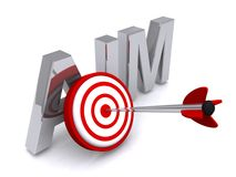 Aim. A concept illustration with a target and an arrow on the bullseye Royalty Free Stock Photo