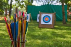 Aim concept with targets and arrows royalty free stock photo