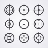 AIM crosshair set icons. For computer PC games shooters, arcades, mouse cursors pointers, cross lines in circles, original aim pictograms images Stock Photo