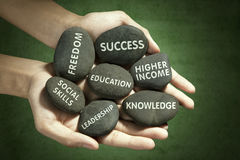 Aim of education written on the stones. Image of hands holding stones with aim of education written on it royalty free stock photos