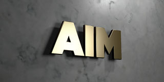 Aim - Gold sign mounted on glossy marble wall  - 3D rendered royalty free stock illustration. This image can be used for an online website banner ad or a print Stock Photography