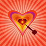 Aim On Heart !. Illustration of Aim On a Heart Royalty Free Stock Photos