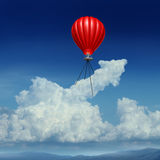 Aim High. Business success concept as a red hot air balloon lifting up a cumulus cloud shaped as an arrow metaphor for achievement planning and strategy Stock Photography