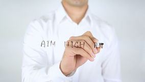 Aim high and Create Action, Man Writing on Glass stock video footage