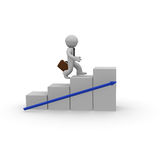 Aim high, 3d concept. Business man jumping up stairs to aim high Royalty Free Stock Photo