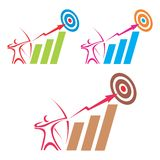 Aim logo. The logo can be used to portray ambition, motivation, target achieving, aiming, winning, etc Stock Image