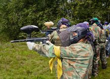 Aim paintball players Stock Photos