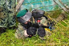 Aim paintball players Royalty Free Stock Photography