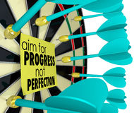 Aim for Progress Not Perfection Dart Board Improvement. Aim for Progress Not Perfection words on a sticky note on a dart board royalty free illustration
