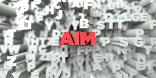 AIM -  Red text on typography background - 3D rendered royalty free stock image. This image can be used for an online website banner ad or a print postcard Royalty Free Stock Image