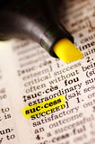 Aim of success. A page of an old dictionary with highlighted the word success Royalty Free Stock Photos