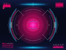 Aim system. Modern aiming concept. Futuristic HUD interface with bright infographic elements. Weapon crosshair template royalty free illustration