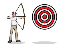 Aim a target. A cartoon illustration of an archer aim a target Royalty Free Stock Image